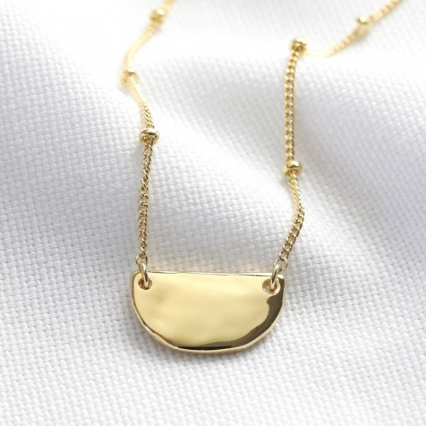 GOLD HAMMERED HALF MOON NECKLACE
